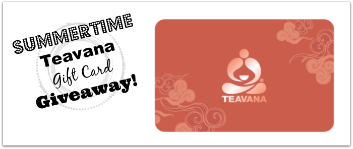 Enter to win a $50 gift card to Teavana. Also good at Starbucks. Ends 7/14/14.